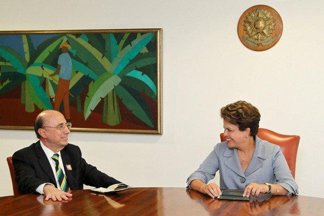 Henrique Meirelles e Dilma Rousseff